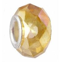 Faceted Glass Bead Fits Pandora 14mm Amber Rainbow (1)