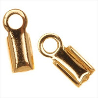 Gold Plated Foldover 9mm Cord Ends For Leather (x50)