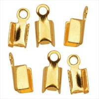 Gold Plated Foldover 7mm Cord Ends For Leather (x50)