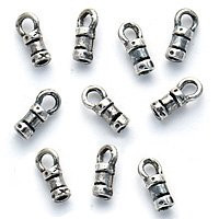 Sterling Silver Fancy Crimp Beads 1.4mm Cord Ends with Loop (4)