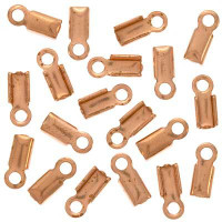 Genuine Copper Foldover 9mm Cord Ends For Leather (x50)