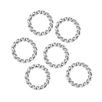 Silver Plated Twisted Open Jump Rings 8mm 16 Gauge (50)