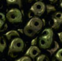 SuperDuo, Czech Glass 2-Hole Seed Beads 5.5x2.5mm, Metallic Green, 10 Grams