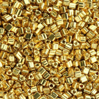 Size 8 Toho Triangle Beads, Galvanized Starlight Gold (1 ounce)