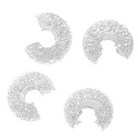 Silver Plated Stardust Crimp Bead Covers 4mm (50)