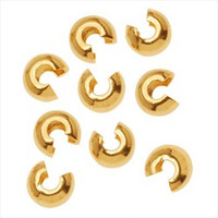 22K Gold Plated Crimp Bead Covers 4mm (144)