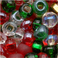 Czech Seed Beads 6/0 Deck The Halls Christmas Mix (1 ounce)