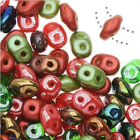 SuperDuo, Czech Glass 2-Hole Seed Beads 5.5x2.5mm, Poppy Fields Mix, 22 Grams,