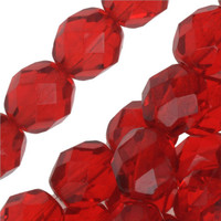 Czech Glass Fire Polish 6mm Siam Red Ruby  (25)