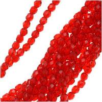Czech Glass Fire Polish 4mm Siam Red Ruby  (50)