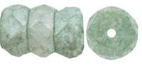 Czech Glass Fire Polish Rondelle  6x3mm Stone Green (25)