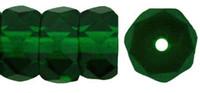 Czech Glass Fire Polish Rondelle  6x3mm Emerald Green (25)