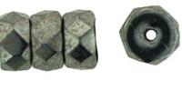 Czech Glass Fire Polish Rondelle  6x3mm Hematite (25)