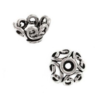 Bali Sterling Silver Graceful Scroll Bead Caps 9mm (2)