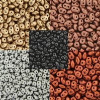 UnCommon Artistry SuperDuo Seed Beads 2.5x5mm Metallic Colors- Grand Mix Black, Gold, Silver, Copper, Bronze