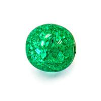 Czech Glass Druk 8mm Round Crackle Emerald (25)