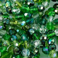 Czech Glass Fire Polish 8mm Round Evergreen Mix (50)