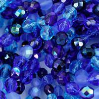 Czech Glass Fire Polish 4mm Blue Tones Mix (100)
