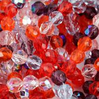 Czech Glass Fire Polish 8mm Round Melonberry Mix (50)