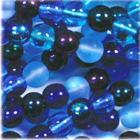 Czech Glass Druk 6mm Round Blue Tones Mix (50)