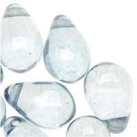 Czech Glass Smooth Teardrop Bead 9x6mm - Luminescent Blue (20)