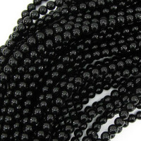 "Black Agate 4mm Round Beads 16"" Strand"