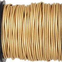15 Ft of Metallic Gold Genuine Leather Cord Round 2mm Diameter