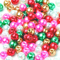 UnCommon Artistry Glass Pearl Mix 100pcs 8mm - Christmas Mix