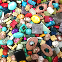UnCommon Artistry Variety Mix of Semi-Precious Gemstones 4mm-40mm Focal Pieces, Drilled Beads for Jewelry Making (Small to XL) 125 grams