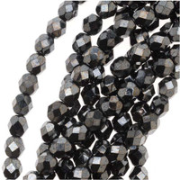 Czech Glass Fire Polish 6mm Hematite (25)