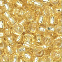 Czech Seed Beads 6/0 Crystal Straw Gold Lined (1 ounce)
