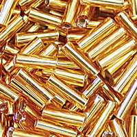 Czech Bugle Beads Size 3 Amber/Topaz Silver Lined (24 grams)