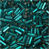 Czech Bugle Beads Size 2 Teal Silver Lined (24 Grams)