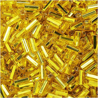 Czech Bugle Beads Size 2 Yellow Silver Lined (24 Grams)