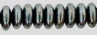 Czech Pressed Glass Rondelle  6x2mm Hematite (50)