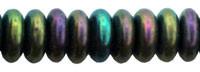 Czech Pressed Glass Rondelle  4mm Green Iris  (100)