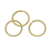 Gold Plated Twisted Open Jump Rings 8mm 16 Gauge (50)
