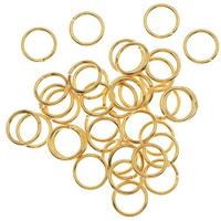 Gold Plated Open Jump Rings 8mm 18 Gauge (100)