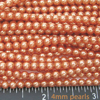 UnCommon Artistry Glass Pearl Beads 200pcs 4mm - Orange