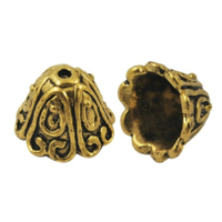 "Tibetan Style Large Antique Gold Plated Lead-Free ""Spiral"" Cone Bead Caps 15mm (x 4)"