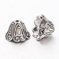 "Tibetan Style Large Antique Silver Plated Lead-Free ""Spiral"" Cone Bead Caps 15mm (x 4)"