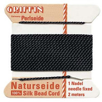Griffin Silk Beading Cord & Needle Size 2 Black