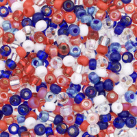 Czech Seed Beads 6/0 Patriotic Mix (1 ounce)