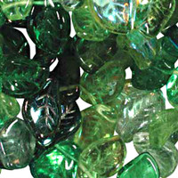 Czech Glass 7x12mm Leaf Bead Mix, Evergreen Mix (50)