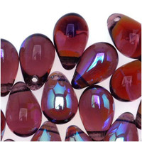 Czech Glass Beads 9mm Teardrop Amethyst AB (50)