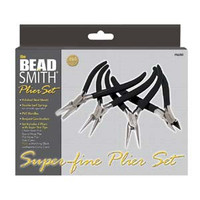 Beadsmith Super Fine 4 Piece Plier Set w/ Leatherette Case