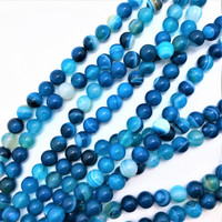 "Azure Blue Banded Agate 8.5mm Round Beads (16"" Strand)"