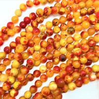 """Fire  Opal"" Yellow Orange Agate 10mm Round Beads (16"" Strand)"