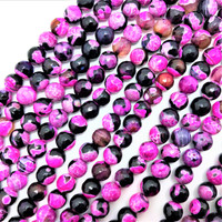 "Hot Pink & Black Crab Fire  Agate 8mm Faceted Round Beads (16"" Strand)"