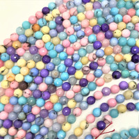 "Multi-Colored Pastel Agate 8mm Faceted Round Beads (16"" Strand)"
